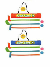 KIDS SMALL PLASTIC GOLF SET CADDY 3 CLUBS + 2 BALLS SUMMER GARDEN TOY