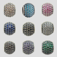 Brand New 925 Silver Authentic Pave Lights floating charm European bead 6 colors