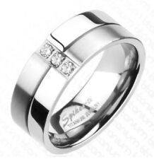 Mens Diamond Titanium Wedding Band Ring 0.09Ct 8mm Traditional Engagement 9-13