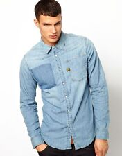 New Men's G Star Raw Long Sleeve Light Denim Shirt Vintage Summer Retro RRP:£90