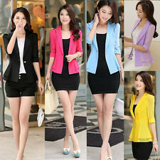 Stylish Women Half Sleeve Slim Suits Jacket Coat OL One Button Blazers Outwear