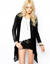 BNWT Religion Shiver Leather & Knitted Waterfall Jacket RRP £175 in Black