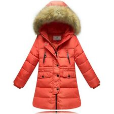 2014 Kids Girls Fur collar Thicken long section Down Jacket 5 Color size 6-10Y