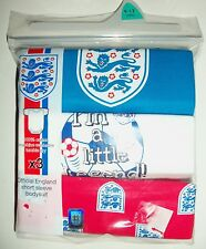 3  Variety Pack Cotton White/Red/Blue Short Sleeved Bodysuits with England