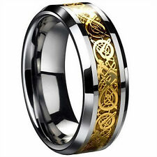 Celtic Dragon Inlay Stainless Steel Wedding Engagement 8mm Men's Band Ring