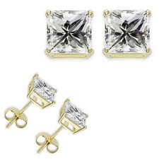 0.50,1,2,3,4 Carat Princess White CZ 925 Silver Yellow Gold Plated Stud Earring
