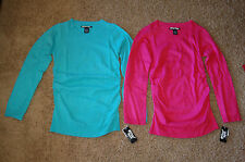 NWT Girls Planet Gold V Neck Solid Cinched Sweater Pink Teal Size 14 16 LQQK FS!