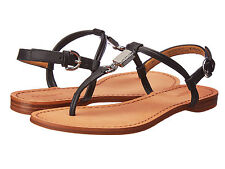 COACH CHARLEEN VEG LEATHER BLACK FLAT SANDALS 5-11