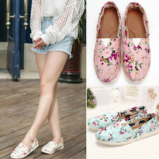 Fashion Lady Girl Flats Floral Canvas Rubber Tide Shoes Shallow Mouth Mary Janes