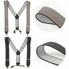 "Mens Wide Elastic Suspenders Adjustable Braces Belt Clip-On 1.3"" Width 2 Colors"