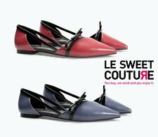 ZARA WOMEN´S Flat shoes with bow BLUE OR BURGUNDY NEW AW14/15 R. 6285/301