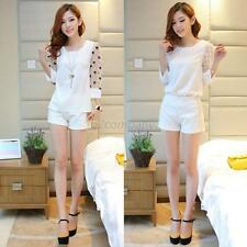 Women's Tulle Sheer 3/4 Sleeve Blouse T-shirt+Lace Shorts Pant 2pcs Casual Suits