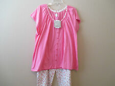 NWT Aria Womens 2 Pc. S/S Cardigan Capri Pants Pink/Coral Floral $60 Plus Sizes