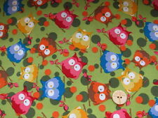 children blue yellow red owls on green Cotton Fabric Tante Ema