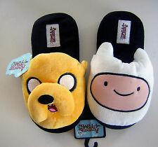 Adventure Time Finn & Jake Face Slide On Adult Womans Plush Slippers Shoes NWT
