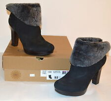 New $225 UGG W Dandylion Black Suede Ankle Boots Leather Heel sz 10