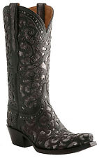 Lucchese Women's Women's Black Laser Cut Spirals with Inlays Cowgirl Boots M4842