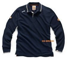 Scruffs Long Sleeved Work Trade Polo Shirt Navy Blue Cotton + Free Beanie Hat!