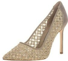 $1400 New Manolo Blahnik CERCHI Gold Crystals Champagne BB Heels Shoes 37 38 39