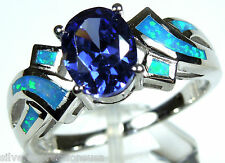 Tanzanite & Blue Fire Opal Inlay 925 Sterling Silver Engagement Ring Sz 6,7,8,9