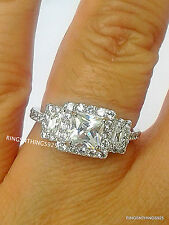 Sterling Silver 925 Stunning Princess Cut With Accents CZ Ring Size 8