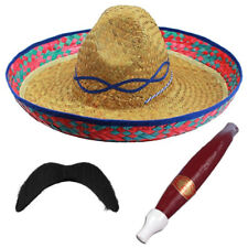24 X MEXICAN SOMBRERO STRAW HAT MOUSTACHE CIGAR WESTERN BANDIT FANCY DRESS PARTY