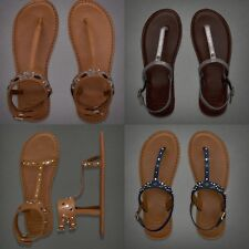 New! Abercrombie & Fitch Women's Shine Light Leather Sandals Size  XS S M L