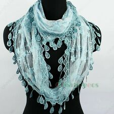 Fashion Women's Floral Mesh Infinity Loop Cowl Lace Trim Tassel Scarf Lady Shawl