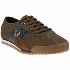 New Mens Fred Perry Brown Chase Leather Trainers Plimsolls Lace Up