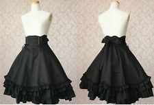 J497 BLACK DRESS GOTHIC LOLITA PUNK COSPLAY Tiered Layered COTTON LONG SLEEVES