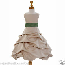 CHAMPAGNE WINE SASH FLOWER GIRL DRESS WEDDING PICK UP BRIDAL 2 4 6 8 10 12 14 16