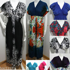 Plus Size Women V Neck Long Maxi KIMONO summer party PEACOCK dress sundress 4XL