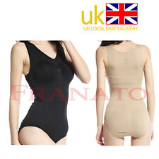NEW SLIMMING FULL BODY SUIT SHAPER Tummy firm control Open Crotch Black Nude