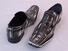 "Men's Dress Casual Shoes ""AMALI 2672-002"" Black/White Slip on Loafers"