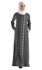 Black And White Slip On Print Abaya/ Islamic Clothing Jilbab Long Dress