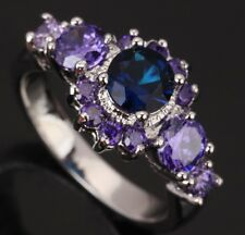 Hot Sapphire blue Topaz Nice Amethyst Gems Silver Rings US#Size5 6 7 8 9 T0267