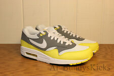 Nike Air Max 1 Essential White Cool Grey Black and Yellow 537383 111