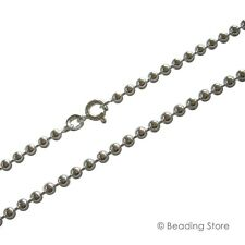 925 Sterling Silver 2mm Bead Ball Link Chain Necklace Bolt Clasp All Lengths
