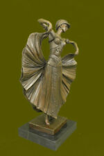 """Signed Chiparus Charming Dancer Bronze Marble Statue Sculpture 15"""" Tall Figurine"""