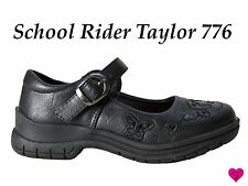 Girls School Shoes Buckle Mary Jane Butterfly Black Flats Taylor776 School Rider
