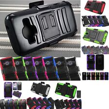 Rugged Hybrid Shockproof Stand Holster Clip Case Dual Layer Cover +Film