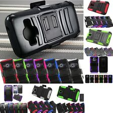 Heavy Duty Hybrid Holster Black Armor Case Rugged Phone Protector Cover +Film