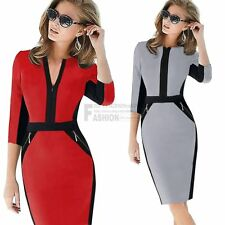 Womens Pinup Colorblock OL Stretch Tunic Wear To Work Party Pencil Sheath Dress
