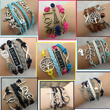 Women Fashion Vintage Multilayer Braided Bracelet Charm Hollow Chain Cuff Bangle