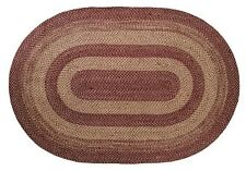Burgundy and Tan Jute Braided Area Rug~ Braided  Country Primitive Rug~VHC