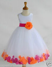 WHITE TULLE ROSE PETAL WEDDING PARTY FORMAL PAGEANT GOWN DANCE FLOWER GIRL DRESS
