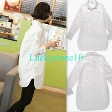 New Womens Long Sleeve Button Down Shirt Casual Blouse Loose Top White S - XXL