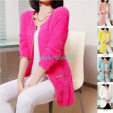New Casual Women Long Sleeve Gold Edge Knitwear Cardigan Slim Sweater Long Tops