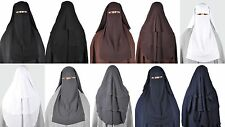 Three Layer Long Saudi Style Niqab Hijab Muslima Abaya Headscarf Burka Face Veil