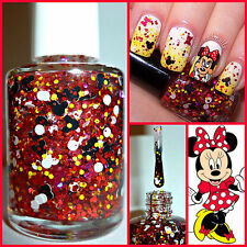"""""""Minnie Mouse"""" Disney Mickey Red Bow Dots Indie Handmade Glitter Nail Polish"""